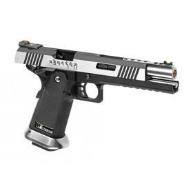 Softair - Pistole - WE - Hi-Capa 6 Force A Silver Barrel Full Metal GBB - ab 18, über 0,5 Joule
