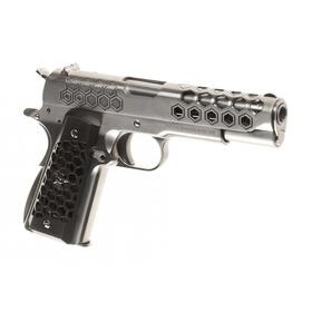 Softair - Pistole - WE - M1911 Hex Cut Full Metal GBB silver - ab 18, über 0,5 Joule