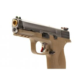 Softair - Pistole - WE - WET-05 SV Silver Barrel Metal Version GBB FDE - ab 18, über 0,5 Joule